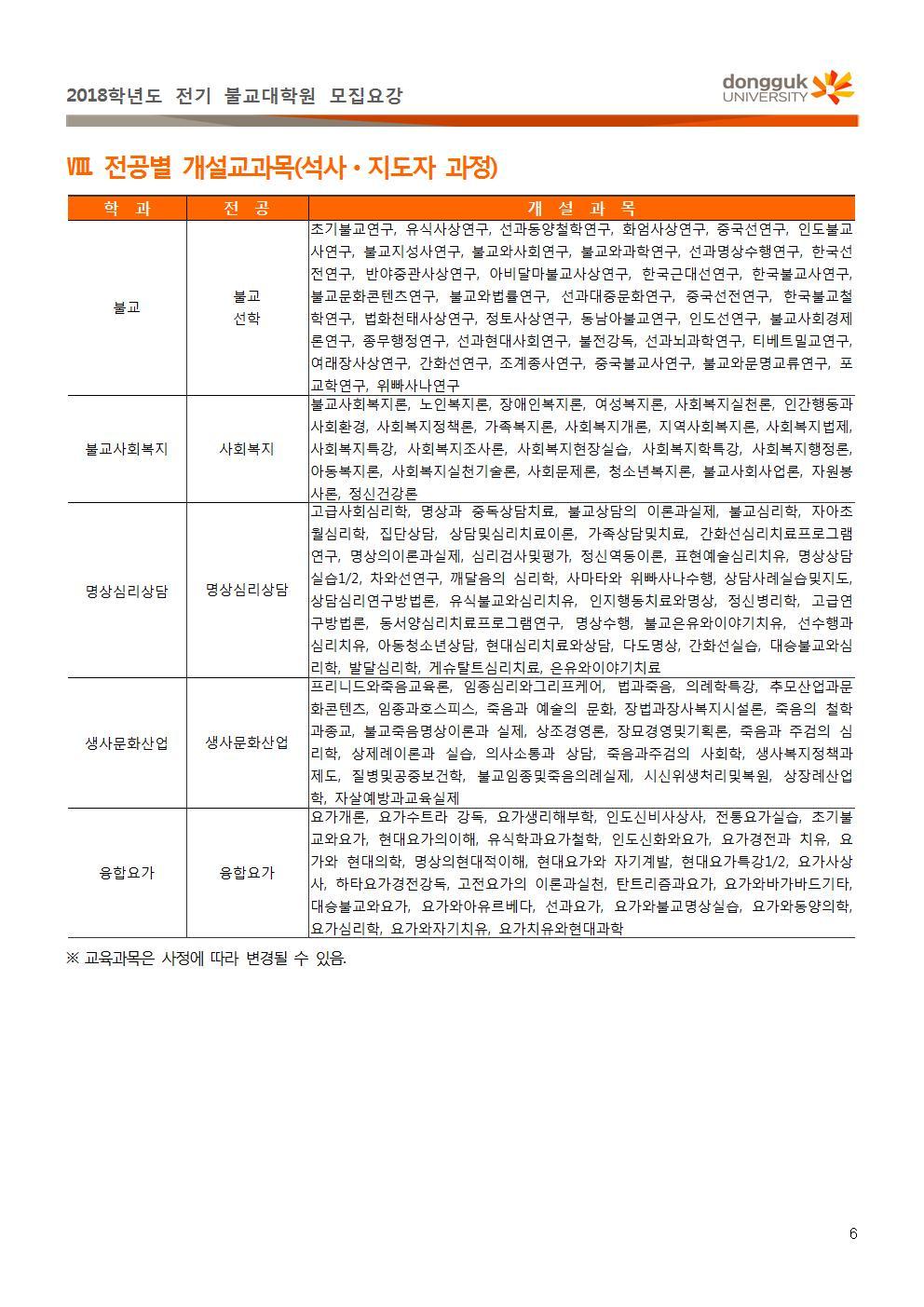 (첨부1) 불교대학원 2018학년도 전기 신입생 모집 요강(2차)006